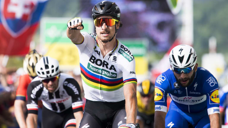 Peter Sagan wins stage two of the Tour de Suisse, with Canberra's Michael Matthews, left, fourth.