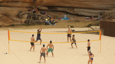 People play volleyball at Tamarama Beach in 2019.