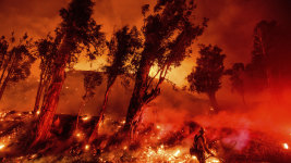 "Flames from a backfire consume a hillside as firefighters battle the Maria Fire in Santa Paula, California, last month. Insurers usually exclude ""acts of God"" from their policies."