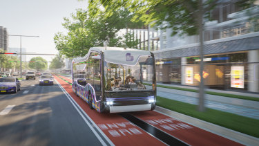 An artist's impression of how a driverless, autonomous vehicle would shuttle passengers between Western Sydney Airport and Liverpool.