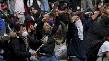 Anti-government protesters rally in at the Bolivar square in downtown Bogota, Colombia, on Friday.