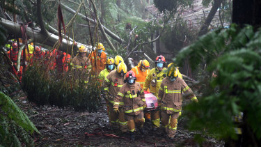 A woman was rescued from her Olinda house last Thursday after it damaged by a falling tree.