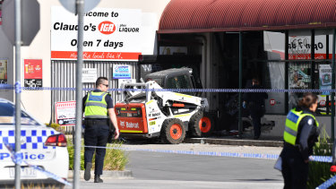 An ATM in Westmeadows was ram raided about four kilometres away from the spot where the man was shot.