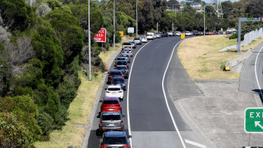 Vehicles line up to exit the Monash Freeway at Warrigal Road to gain access to Chadstone shopping centre.