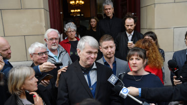 Eurydice Dixon's father Jeremy speaks outside court on Monday.