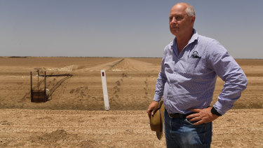 Michael Murray, general manager of Cotton Australia, stands near the dry cotton fields at Darling Farms near Bourke in January 2019.
