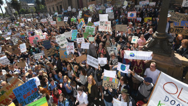 Thousands of students attended the climate strike in Melbourne in March.