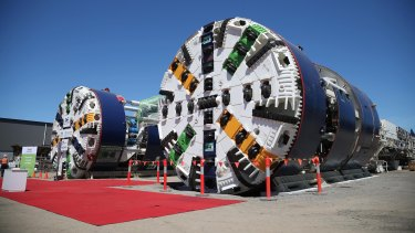 The two tunnel boring machines will start drilling under the new Gabba station next year.