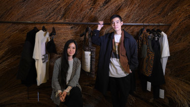 Creative director Lyna Ty with brand director Melvin Tanaya in their experiential retail space in The Rocks.