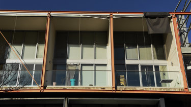 Street view of some of the apartments on the top floor of number 19 Gadigal Avenue in the Sydney suburb of Zetland.