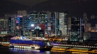 The World Dream cruise ship sits moored at Kai Tak Cruise Terminal in Hong Kong, China.