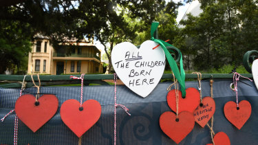 Parramatta's Willow Grove  decorated with love hearts for Valentine's Day this month.