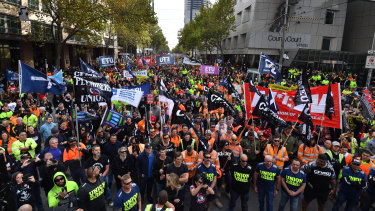 A union protest at the Melbourne Magistrates court during the committal hearing last week.