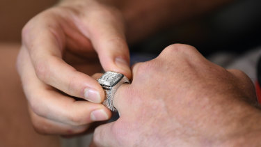 This year's NRL premiership ring, designed in 2019 by Johnathan Thurston.