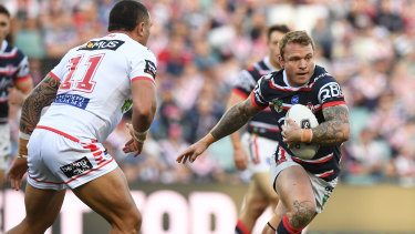 Livewire: Jake Friend sparks the Roosters' attack against the Dragons at Allianz Stadium.