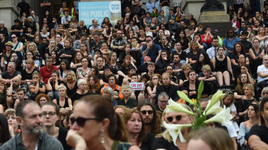 More than 1000 people gathered on the steps of Parliament House on Friday night for a vigil for Aiia Maasarwe.