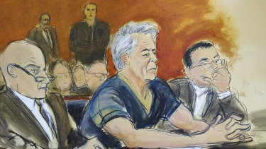 A courtroom artist's sketch, of defendant Jeffrey Epstein, with attorneys Martin Weinberg, left, and Marc Fernich during his arraignment in New York federal court on Monday.