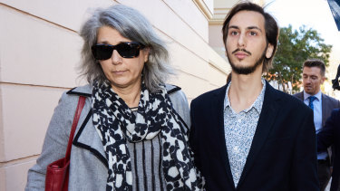 The mother and brother of Hannah Quinn outside court in Newtown.