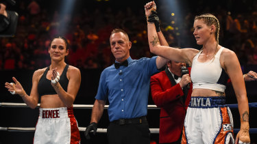 Tayla Harris is announced as the winner of her fight against Renee Gartner on Wednesday night.