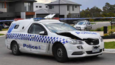 The police car which was rammed in Greenvale.