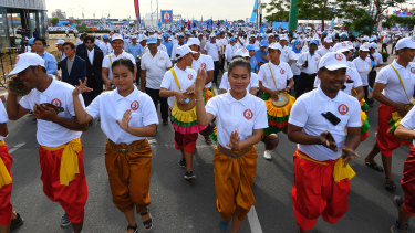 Traditional dancers take part in the organised supporter crowd at Friday's CPP rally.
