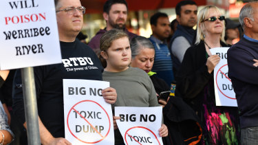 Protesters in Werribee.