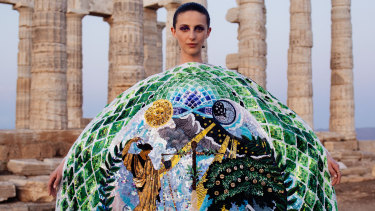 Mary Katrantzou's epic show at Temple of Poseidon on Cape Sounion, in Greece.