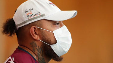 Addin Fonua-Blake wearing a face mask at a press conference in March.