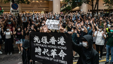 Demonstrators take part in a protest against the new national security law on July 1.