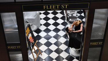 Fleet St Barbers was one of the stores to reopen at the Emporium on Monday.