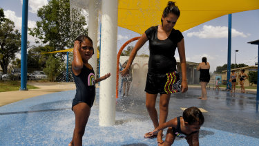 Loving life: residents splash in the Bourke War Memorial Pool in January this year.