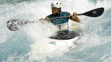 Jessica Fox in action in the kayak slalom heats on Sunday.