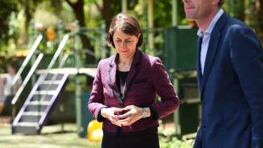 NSW Premier Gladys Berejiklian and Treasurer Dominic Perrottet on Sunday.