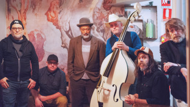 Row Jerry Crow members (left to right)Jeff Consi, John Kendall, Dion Hirini, Rob Hornbuckle,Delsinki and Paul Woseen are bringing their feel-good rockgrass to Memo Music Hall.