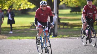 Tony Abbott saddles up in Warrugal on Monday morning.