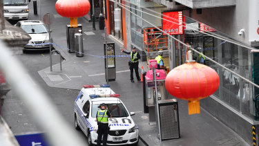 Little Bourke Street was blocked off after Natalina Angok's body was found off Chinatown at 6.30am on Wednesday.