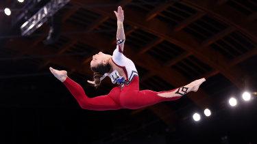 Pauline Schaefer-Betz of Team Germany competes on balance beam.