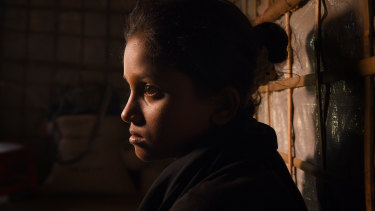 Rohingya refugee Yasmin Akhter, 13, witnessed her parents lying dead in their home in Myanmar and fled to Bangladesh.