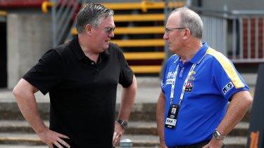 Eddie McGuire chats to West Coast Eagles CEO Trevor Nisbett.