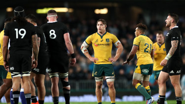 Wallabies captain Michael Hooper during last year's Bledisloe Cup.
