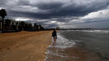 Rain clouds over St Kilda Beach on Friday.
