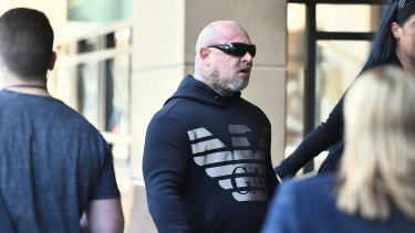 Comanchero bikie boss Mick Murray outside court earlier this year.