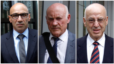 Moses Obeid (left),  Ian Macdonald (centre), and Eddie Obeid (right) are on trial.