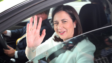 Annastacia Palaszczuk arrives at Government House upon her re-election in 2017.