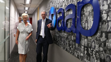 AAP group general counsel Emma Cowdroy with chairman Campbell Reid after announcing the newswire's closure in March.