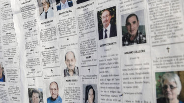 Local newspaper Eco di Bergamo ran pages and pages of obituaries as the crisis worsened in northern Italy.