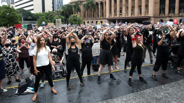 After a minute's silence for women who had lost their lives to violence, the crowd chanted and danced to the English version of Un Violador en Tu Camino.
