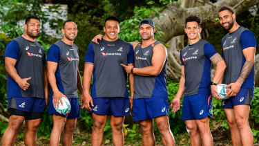 Samoan flavour: Wallabies forwards Scott Sio, Christian Lealiifano, Allan Alaalatoa, Jordan Uelese, Matt Toomua and Lukhan Salakaia-Loto are all proud of their Samoan heritage.