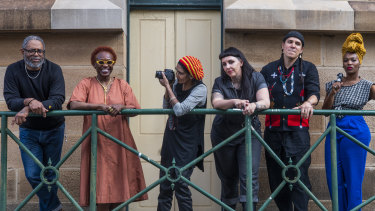 Artists Arthur Jafa, Gina Athena Ulysse, Barbara McGrady, S.J Norman, Nicholas Galanin and Lhola Amira at the announcement of artists for the Biennale of Sydney 2020 exhibition.