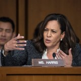 Senator Harris questions former FBI director James Comey about a series of conversations with President Donald Trump as he testifies before the Senate Select Committee on Intelligence in 2017.